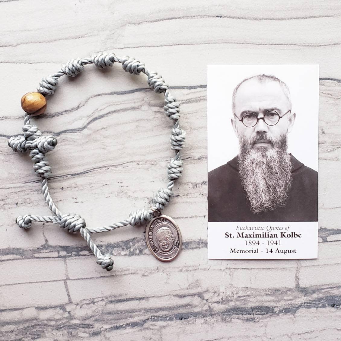 95f79981 Saint Maximilian Kolbe Twine Knotted Rosary Bracelet - with medal & prayer  card