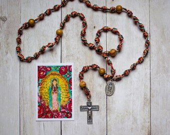 Our Lady Of Guadalupe Mystical Rose Rosary with renaissance crucifix and medal and Catholic prayer card- Confirmation, Communion,Wedding