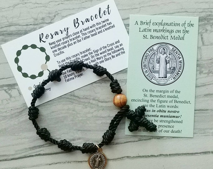 Featured listing image: Saint Benedict Rosary Bracelet - with medal