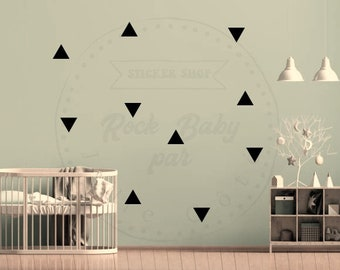 applied Triangles wall art, sticker set wall art nursery child, vinyl wall art home decor, baby nordic style triangles