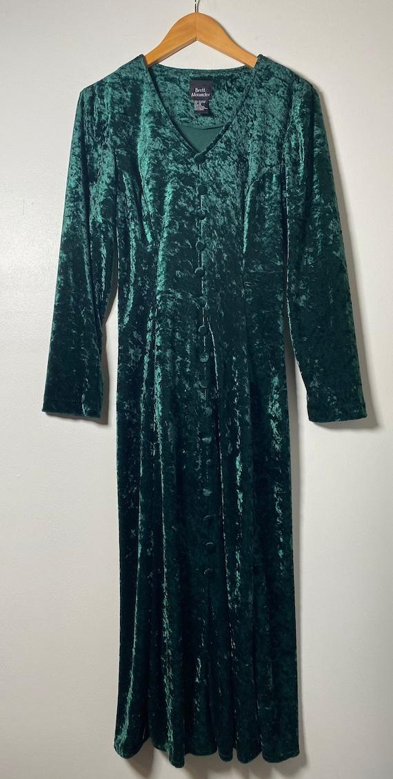 1990's Green Velvet Maxi Dress
