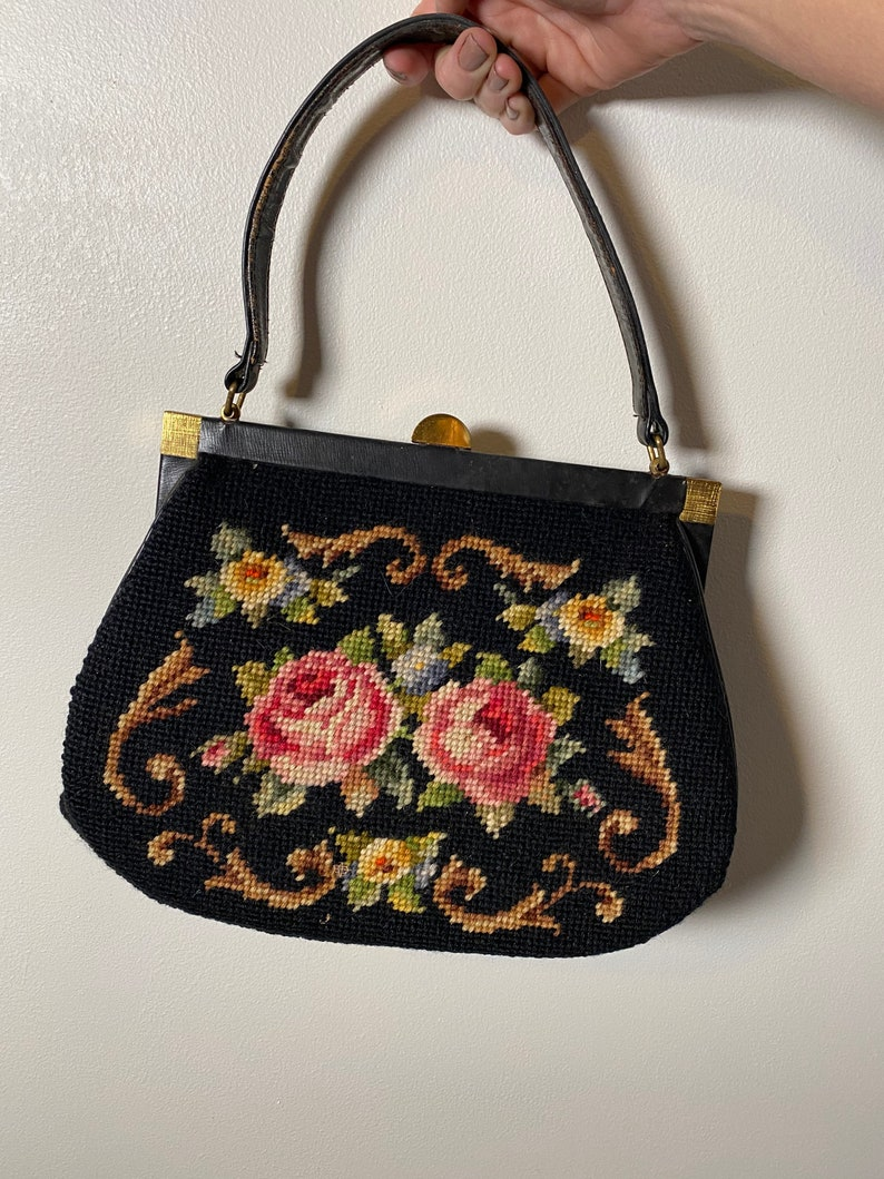 1960\u2019s Floral Wool Needlepoint Purse