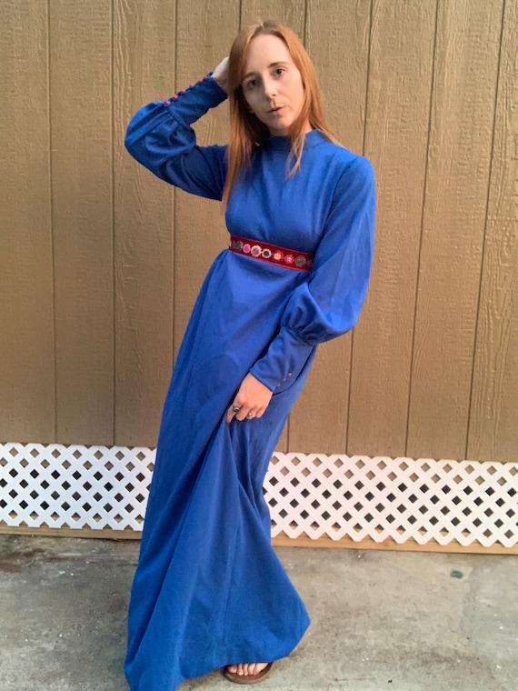 1970's Blue Floral Empire Waist Maxi Dress