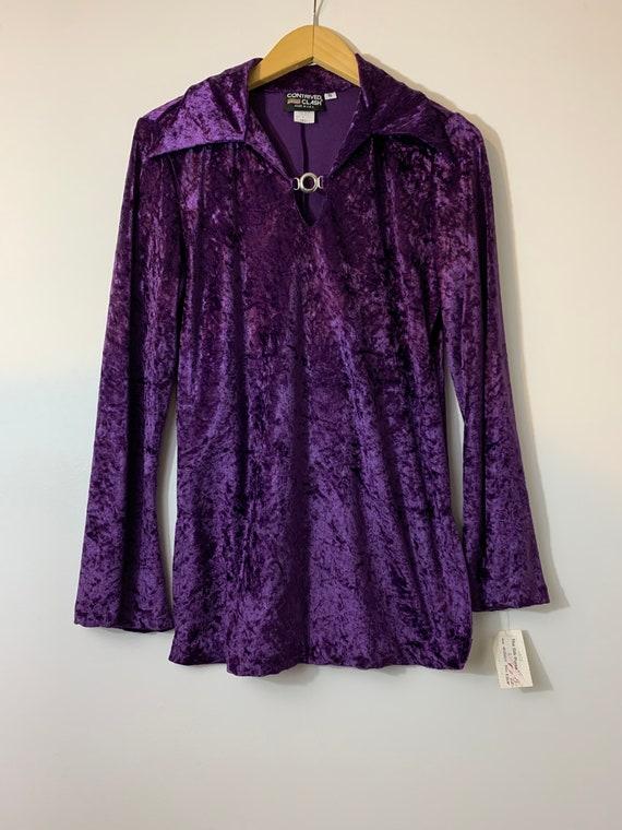 1990's Contrived Clash Purple Velvet Top