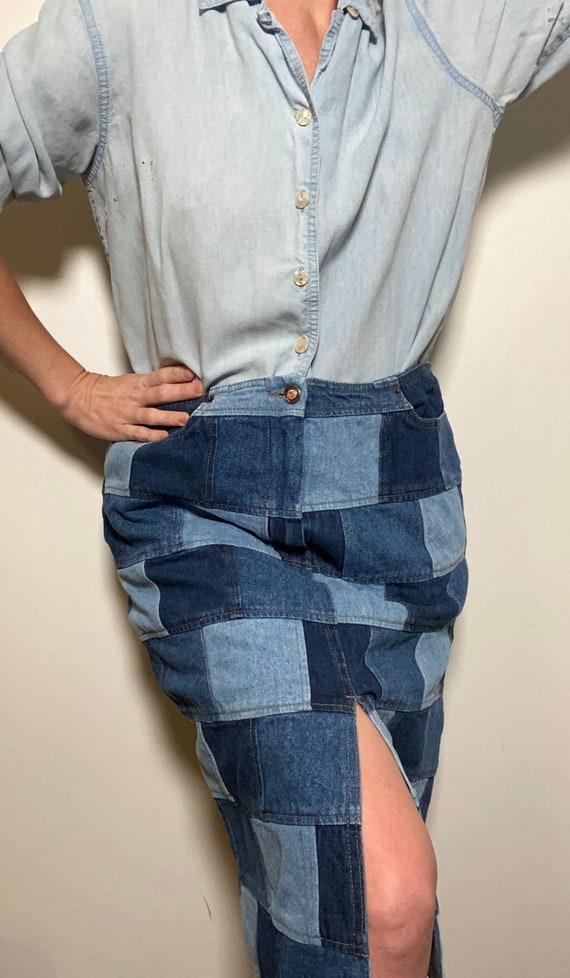 1990's Patchwork Denim Pencil Skirt