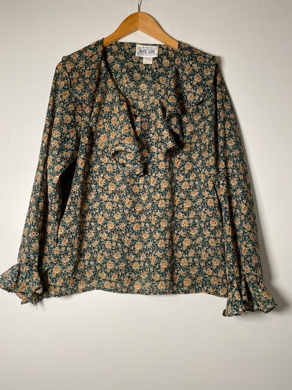 1980's Green Floral Ruffle Blouse