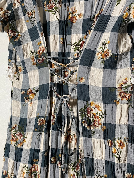 1990's Checkered Lace & Floral Cottagecore Dress - image 6
