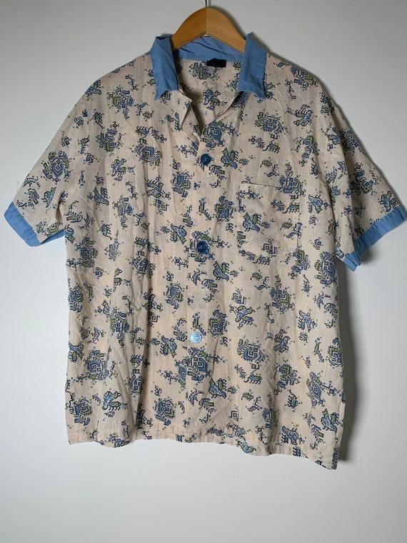 1970's Sears Blue Floral Collar Shirt