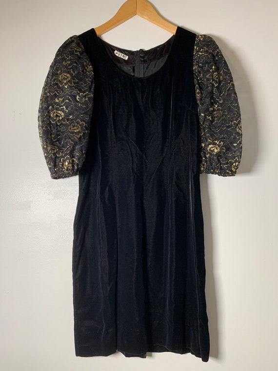 1980's Velvet Puff Sleeve Dress - image 3