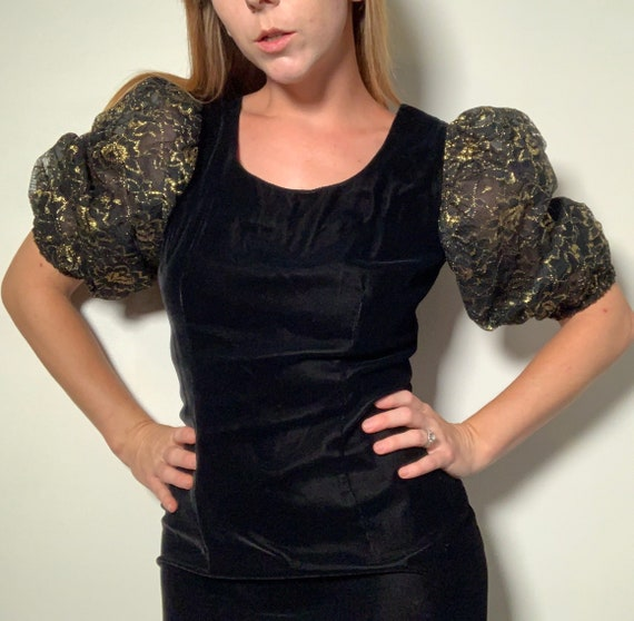 1980's Velvet Puff Sleeve Dress - image 1
