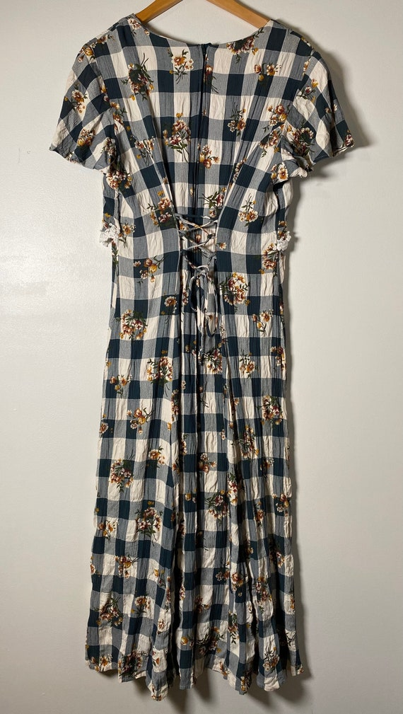 1990's Checkered Lace & Floral Cottagecore Dress - image 5