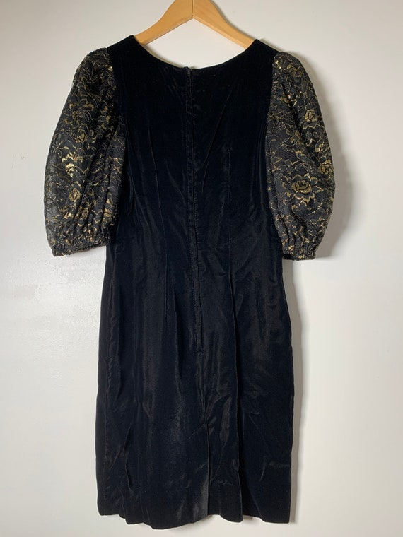 1980's Velvet Puff Sleeve Dress - image 6