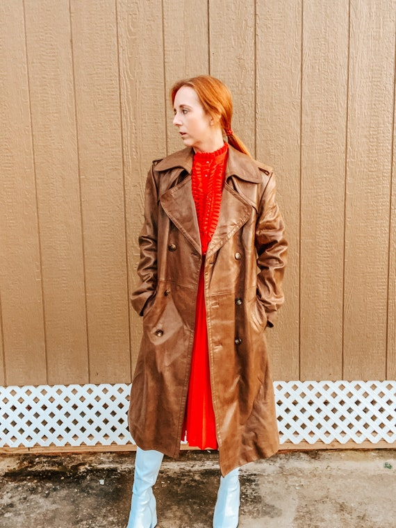 1970's Caramel Brown Leather Trench Coat