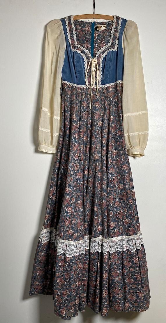 1970's Prairie Child Print Gunne Sax Dress - image 1