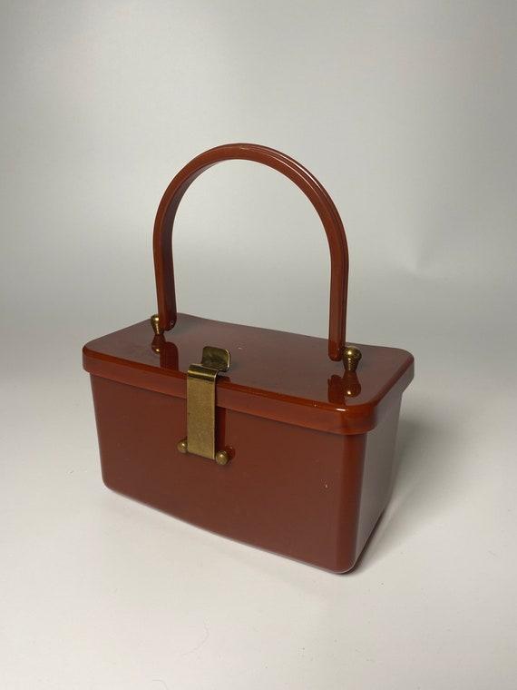 1940's Hardy Brown Bakelite Box Purse