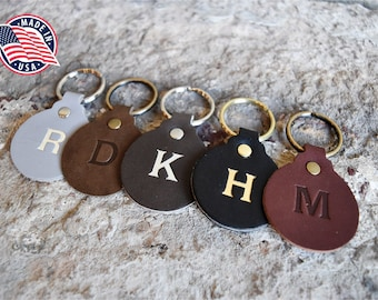 Custom Leather Circle Key Fob. Monogrammed Personalized Full Grain Leather Key Chain. Made In USA. Silver/Gold Foil Options. Leather Charm.