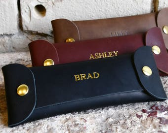 Custom Leather Pencil Case. Personalized Pencil Organizer