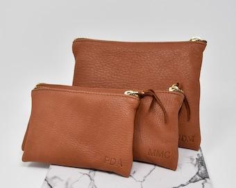 Deerskin Leather Pouch. Monogrammed Deerskin Clutch. Personalized Deerskin Organizer. Super soft, high quality Deerskin Pouch.