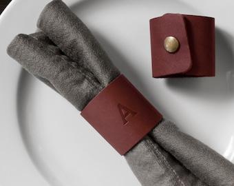 Personalized Leather Napkin Ring. Monogrammed Leather Napkin Holder. Leather Napkin Stand. Table Decor. Set of 2. Wedding Table Napkin Ring.