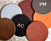 Custom Leather Circle Coasters - Set of 4. Monogram Coaster Set. Personalized Coasters. Multiple Colors, Gold Silver Options Available.