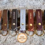 Personalized Leather Keychain. Custom Leather Keychain. Monogrammed Leather Keychain. Handmade in USA. Gold and Silver Foil Available. Fob.