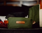 Personalized Canvas Dopp Kit | Monogrammed Canvas Toiletry Bag | Cotton Canvas & Full Grain Leather | Reusable Toiletry Pouch | Made in USA
