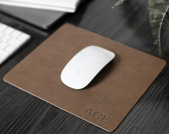 Custom Leather Mousepad - Full Grain Premium Real Leather. Personalized Mouse Pad. WFH. Multiple Color Options. Gold & Silver Foil Options.