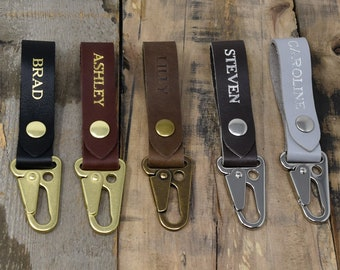 Keychain with clip. Custom Leather Keychain. Brass Hardware. Premium Leather. USA Made. Ships Next Day