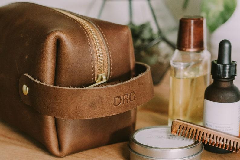 Leather Shave Kit Personalized Genuine Leather Dopp Kit Custom No Foil