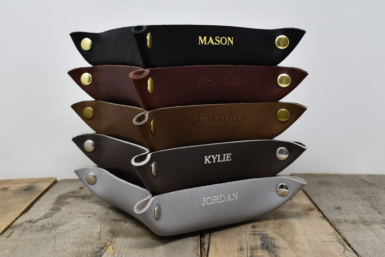 Valet Snap Tray. Personalized Leather Catchall. Engraved Gray