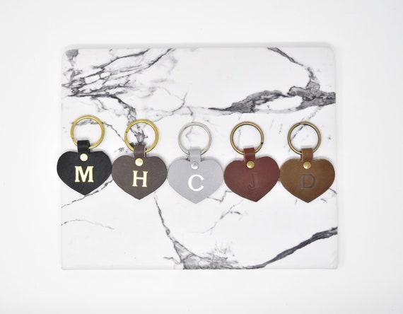 custom leather heart keychain personalized key fob etsy