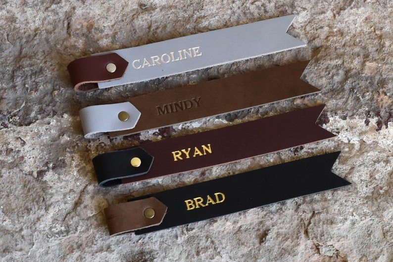 Personalized Leather Bookmark. Custom Genuine Leather Two Tone image 0