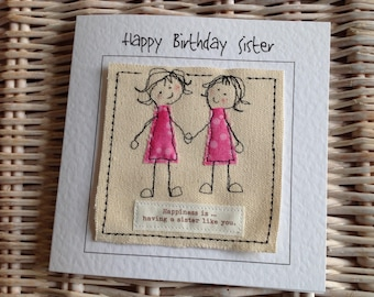 Unique Sister Birthday Card Get Well Thank You Happy And Bookmark Personalised With Your Words Printed