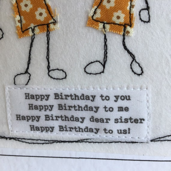 Happy birthday song twin card with special quote. My Twin Sister thank you  card. Sewn Twin sister card. Your words can be printed