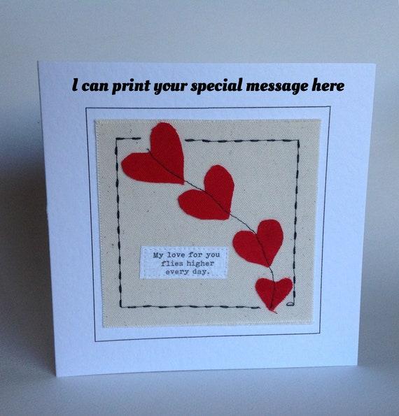 Handmade Love Heart Kite Card Birthday Anniversary