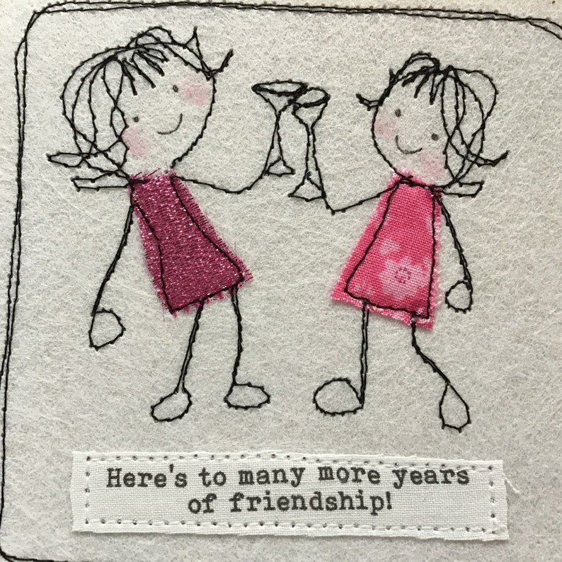get well card with fabric and embroidery Lesbian card can be personalised with your words. Best friend birthday Friend card