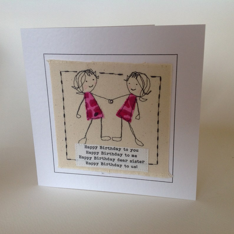 Lucky Twin Sister Card With Special Quote My