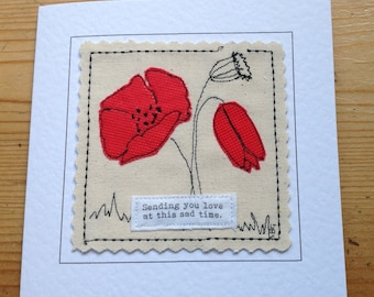 Poppy flower SYMPATHY card. Fibre art Condolence card. Handmade thinking of you. Can be personalised with your printed message on front