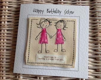 Unique sister birthday card. Sister get well. Sister thank you. Happy  sister card. Personalised with your words printed  top of the card.