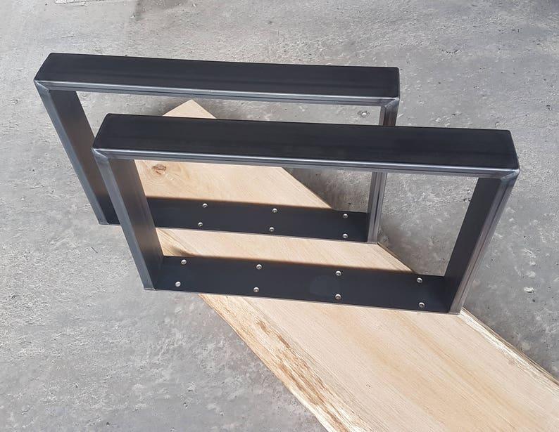 Table Basse Salon 2 Morceau Table Pietement Acier Brut En Acier 60 20 Mm Design Industriel 40 80 Cm Pieds De Table Pour Une Table Basse