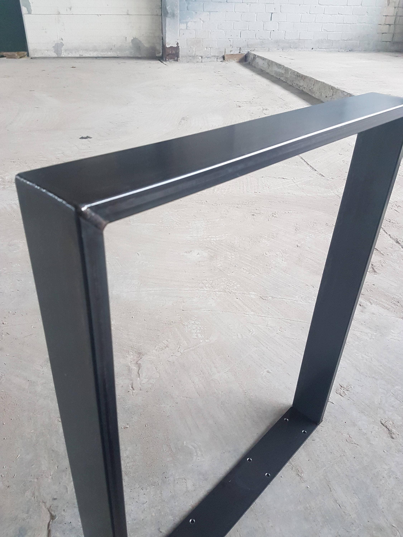 Tischgestell Rohstahl Tischgestell 73-80 cm Klarlack Industrie | Etsy
