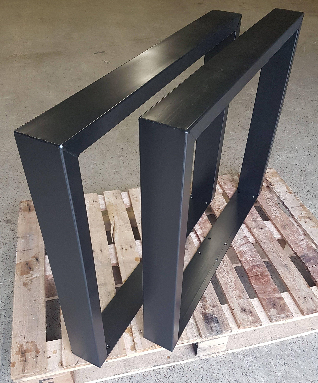 tischbeine metall schwarz matt 73 80 cm rohstahl 100 40 mm. Black Bedroom Furniture Sets. Home Design Ideas