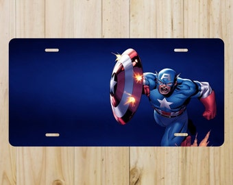Captain America Vanity License Plate Tag Aluminum Baked on Finish Cool New Look