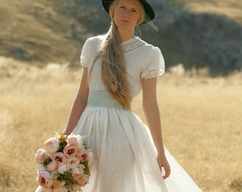 Linen maxi dress rustic, country and boho wedding dress, rustic wedding dress