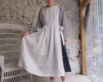 Pinafore apron linen, striped linen apron dress top