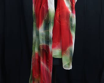 Red-chiffon silk-180x55 cm-Franz. Silk Paint-Steam fixed-hand signed unique gift for you