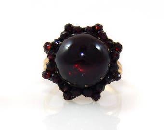 14K Garnet Cabochon Victorian Ring - X2074