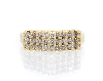 14K Diamond Vintage Ring with Geometric Rows of Natural Stones - X4226