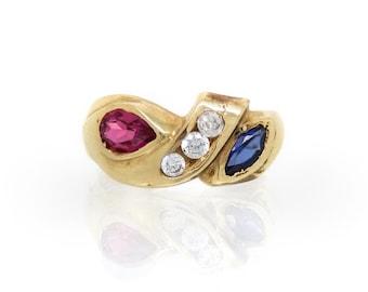 14K Sapphire Ruby Diamond Multistone Vintage Band - X4051