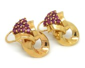 14K Gold Ruby Retro Clip ...